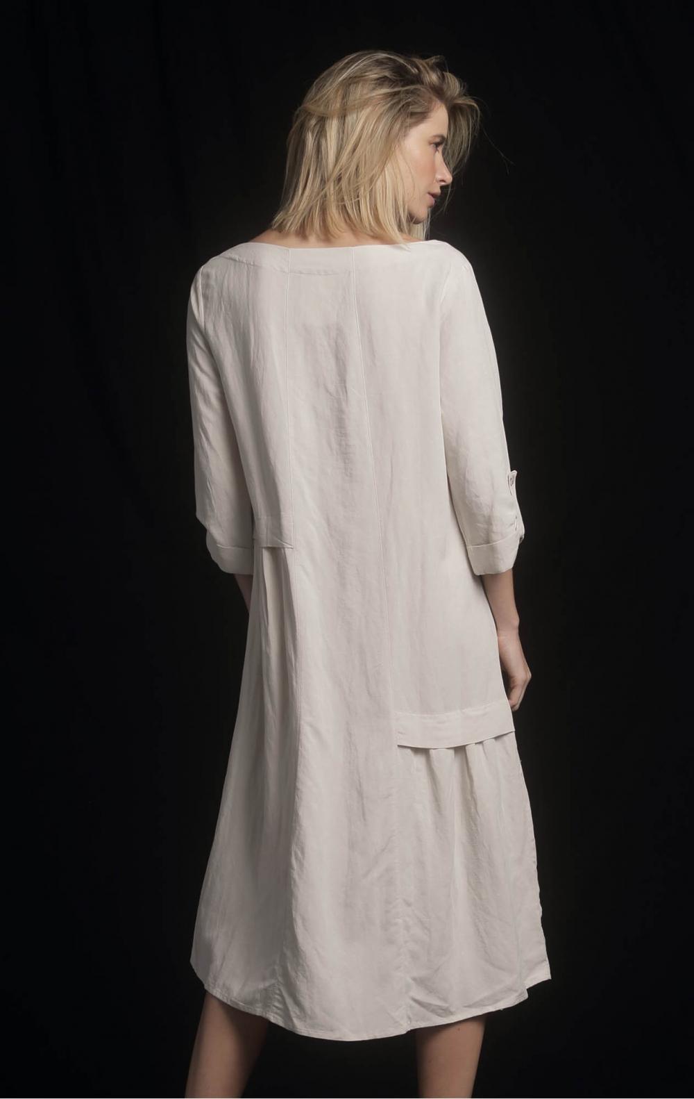 Vestido Linho Recortes Areia  - Foto 2