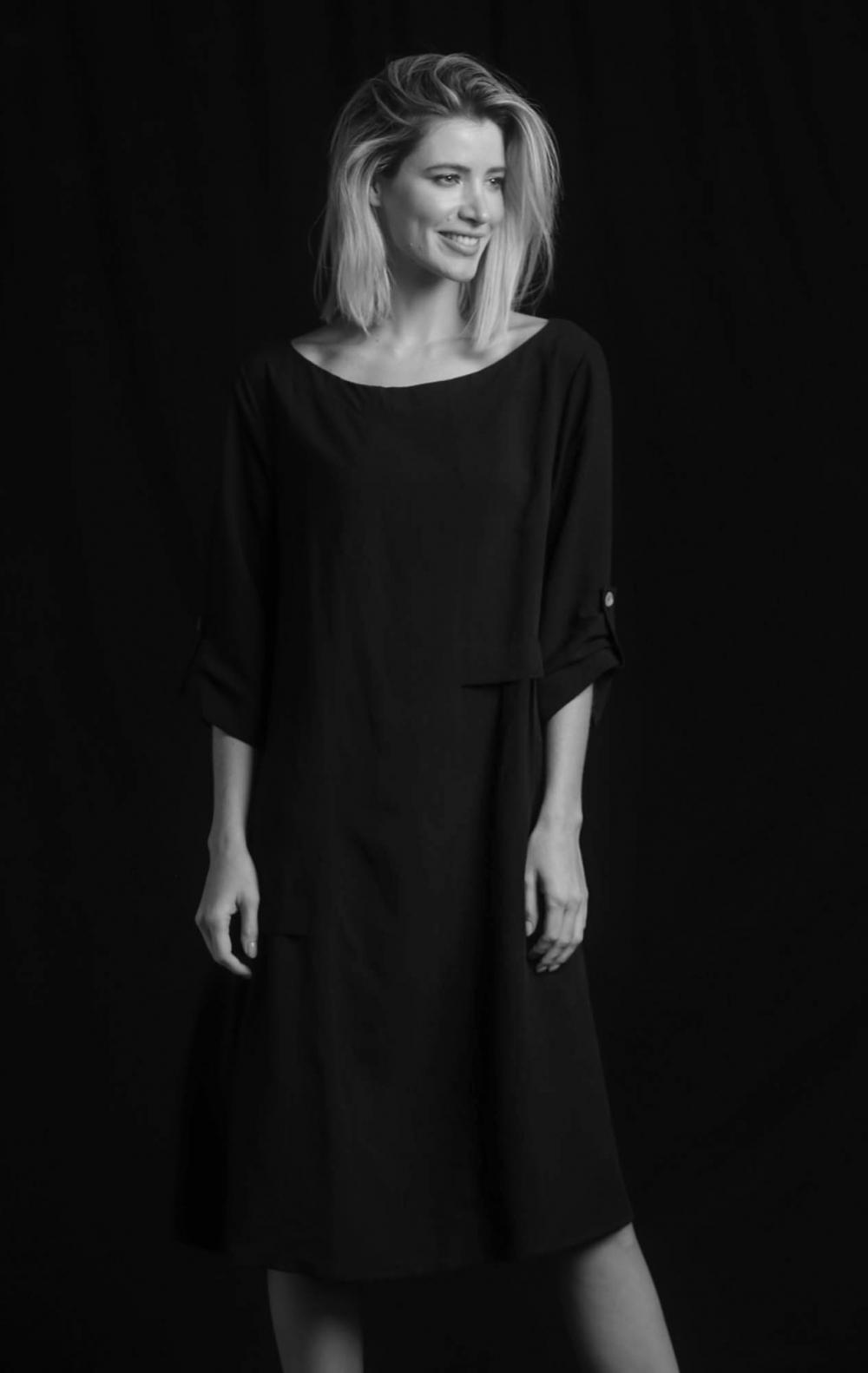Vestido Linho Recortes Preto - Foto 1