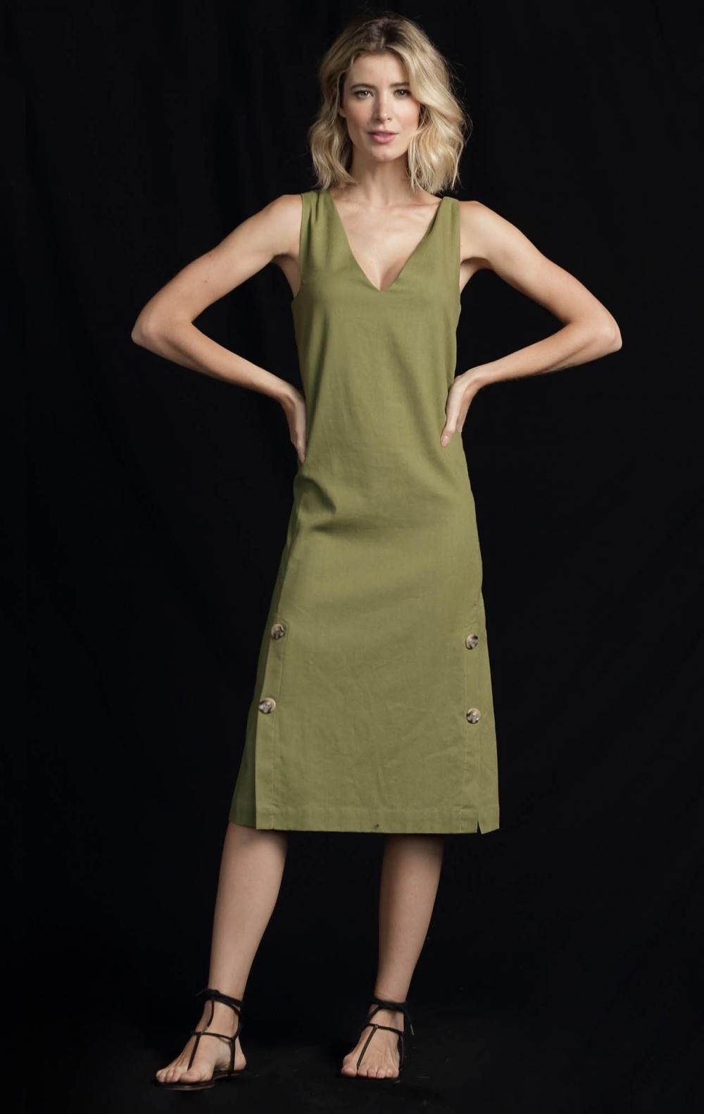 Vestido Linho Linox Verde - Foto 1