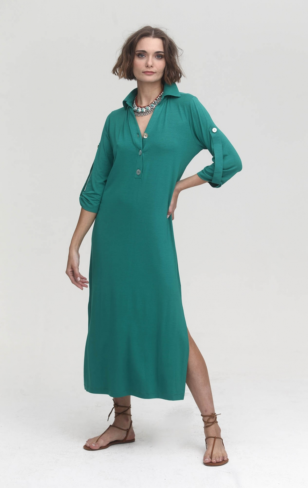 Vestido Malha Gola Polo Verde  - Foto 1