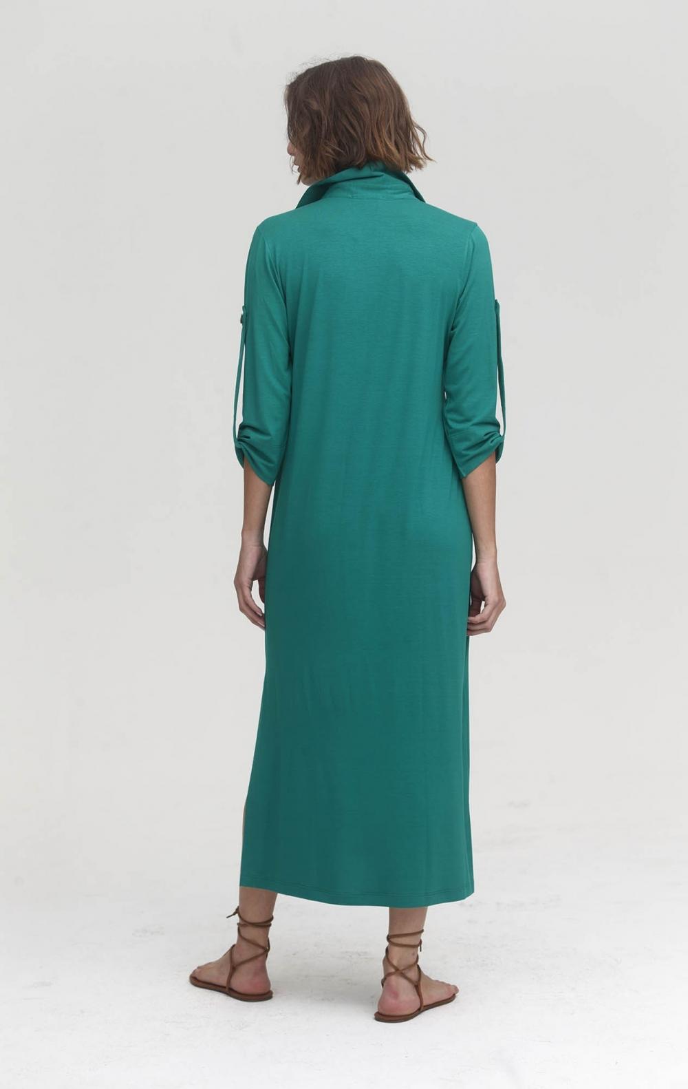 Vestido Malha Gola Polo Verde  - Foto 2