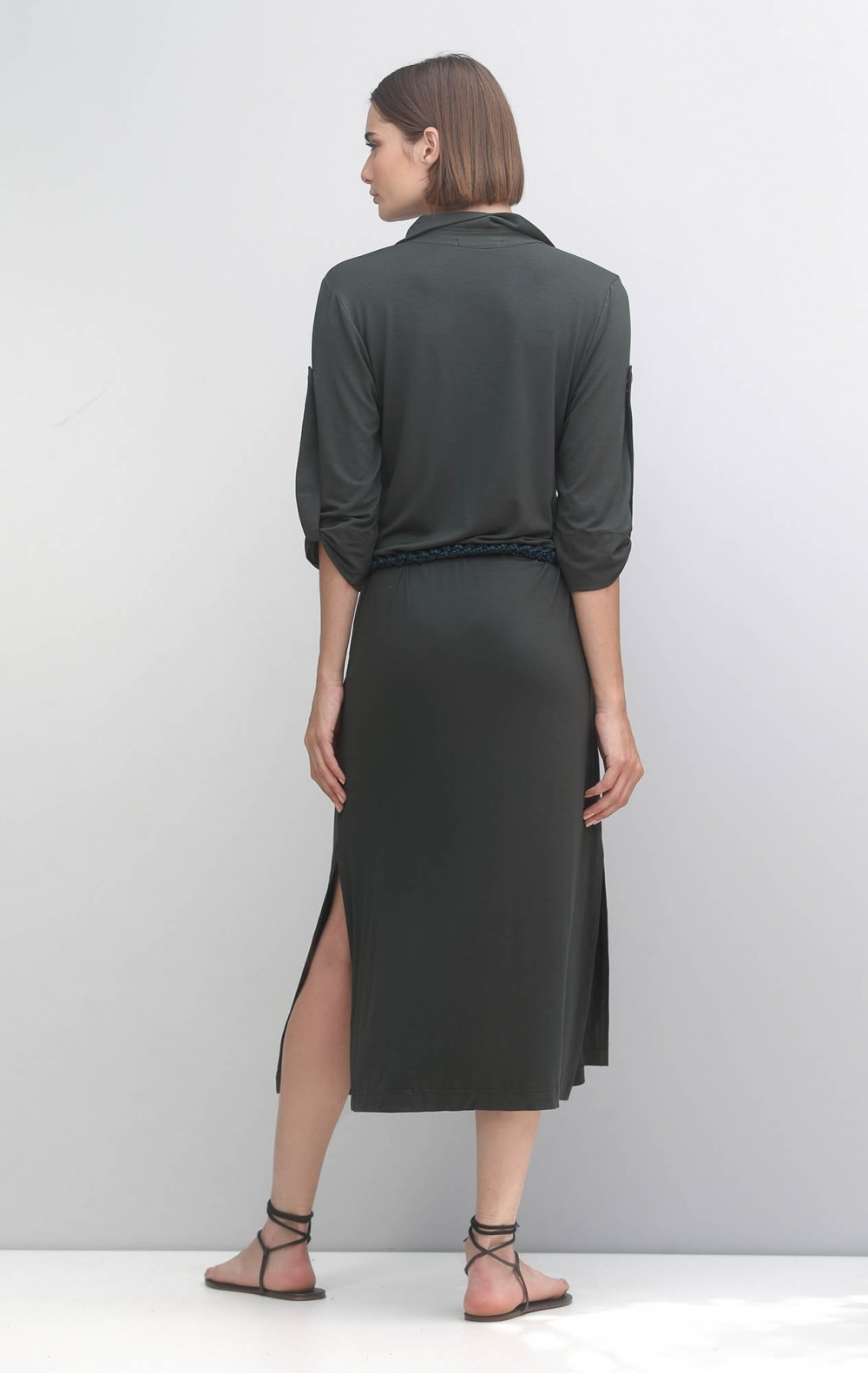 Vestido Malha Gola Polo Verde Musgo - Foto 2