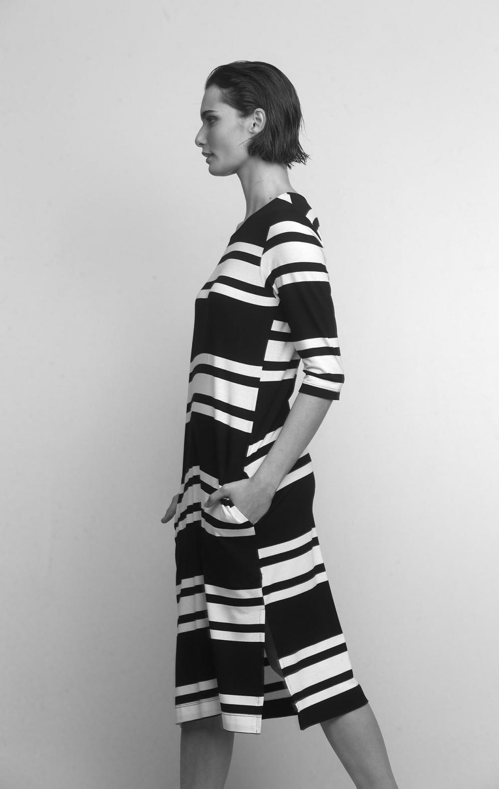 Vestido Malha Listrado Preto - Foto 3