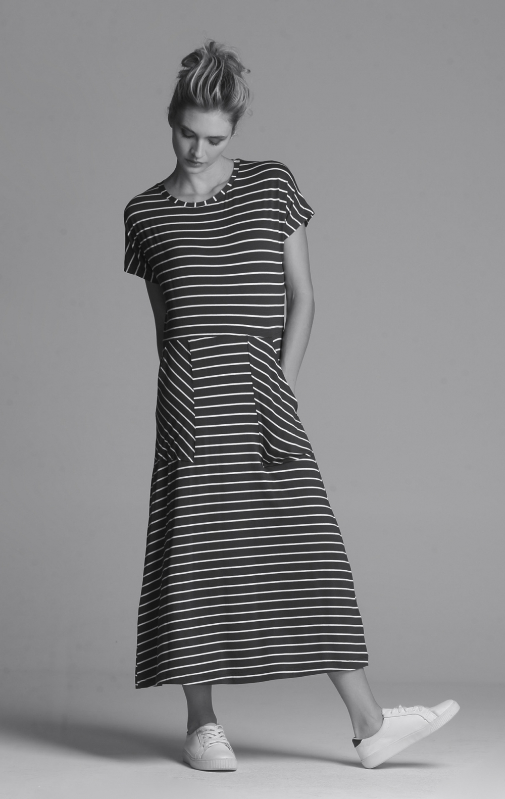 Vestido Malha Listras Marinho - Foto 1