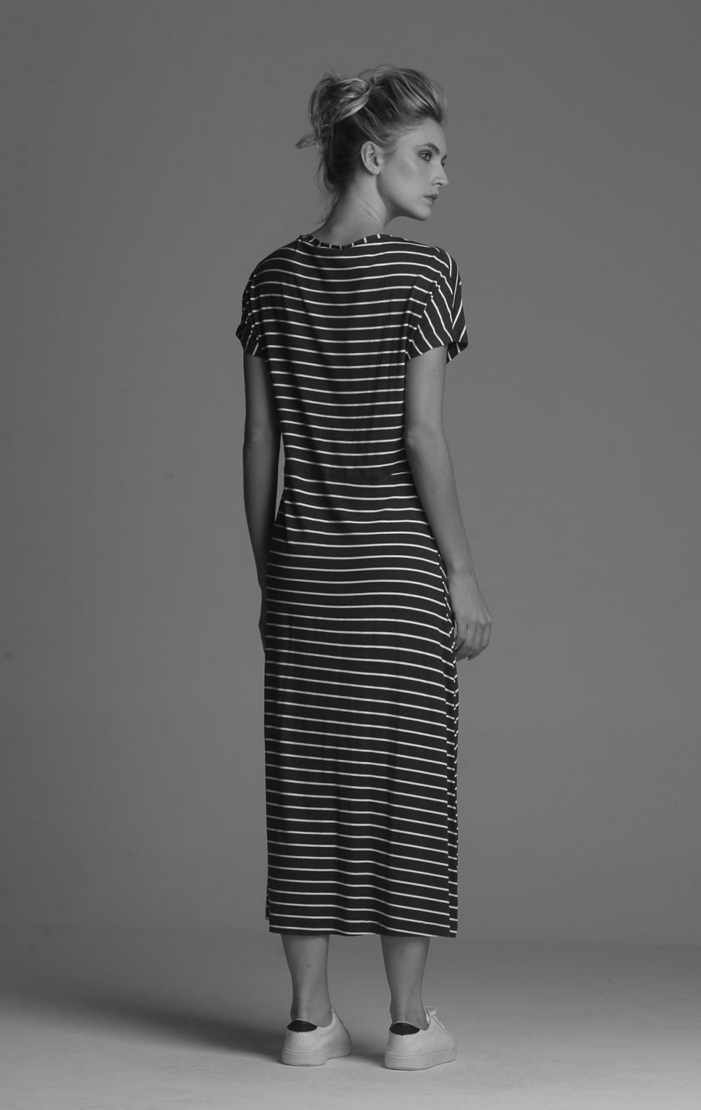 Vestido Malha Listras Marinho - Foto 2