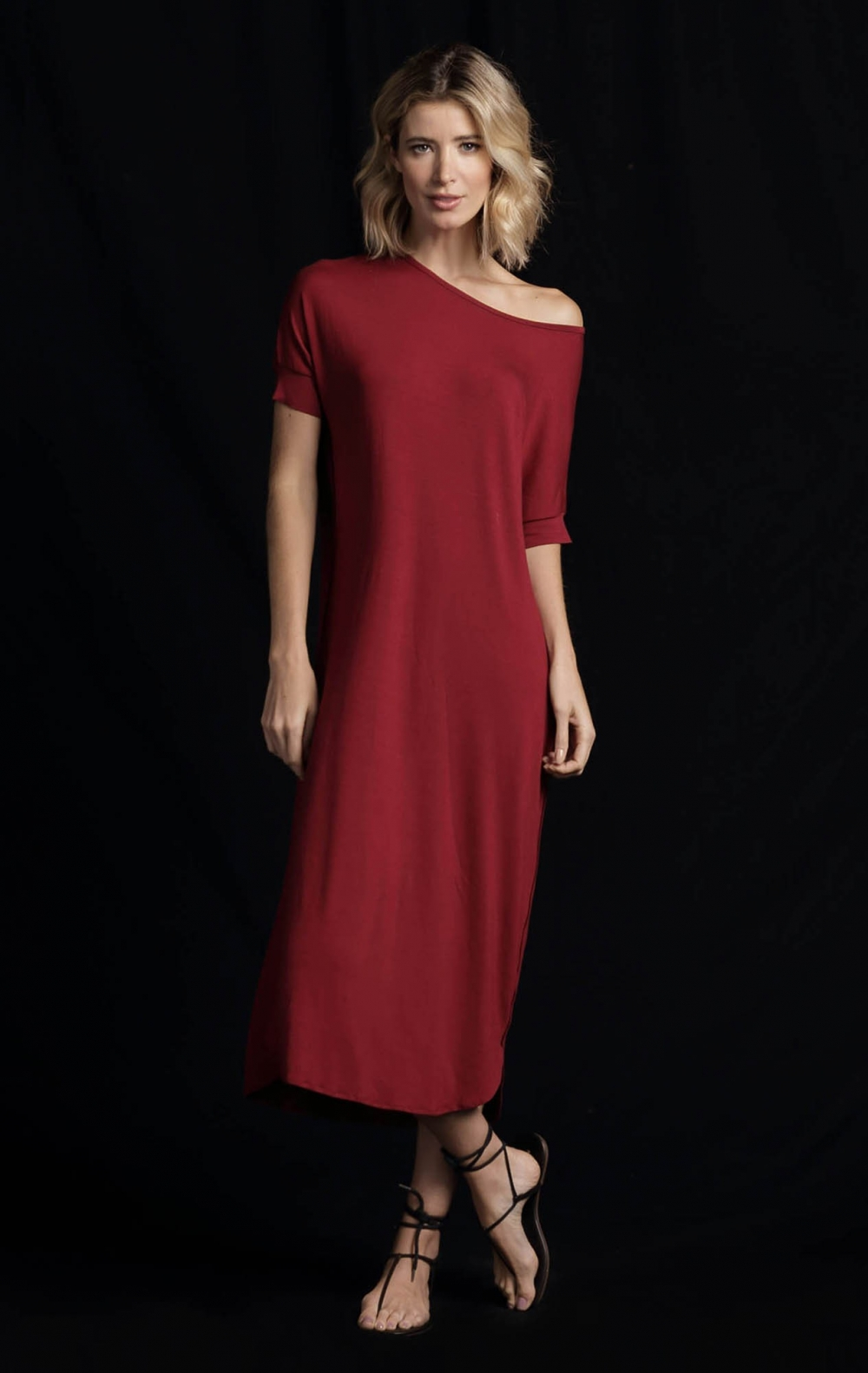 Vestido Malha Tunica Vinho - Foto 1