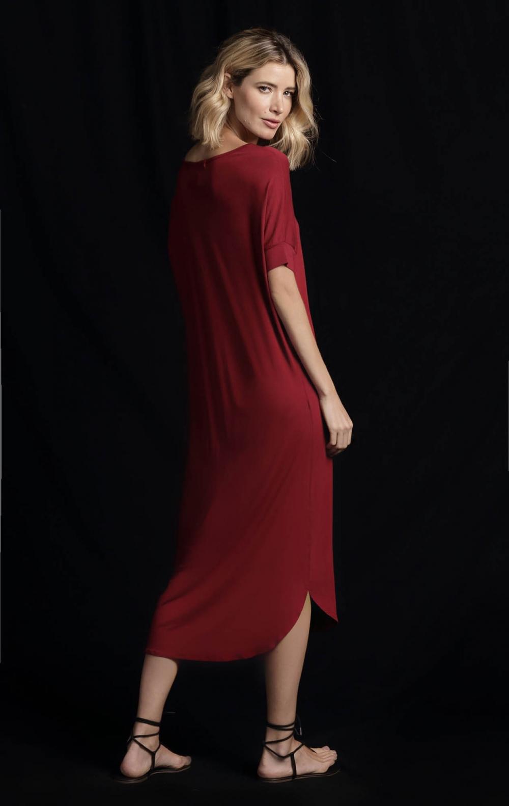 Vestido Malha Tunica Vinho - Foto 2