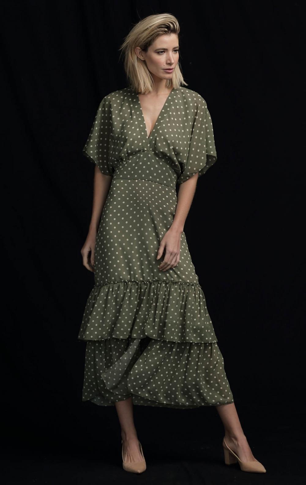 Vestido Musseline Bolas Verde Pistache - Foto 1