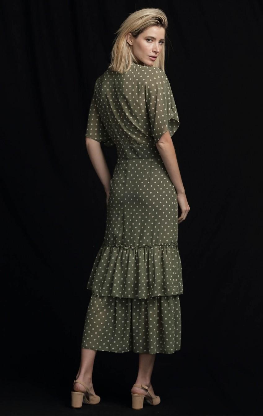 Vestido Musseline Bolas Verde Pistache - Foto 2