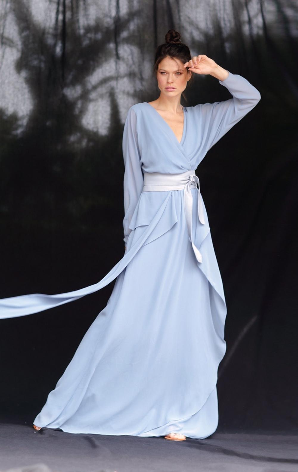 Vestido Musseline Festa Azul Claro  - Foto 1