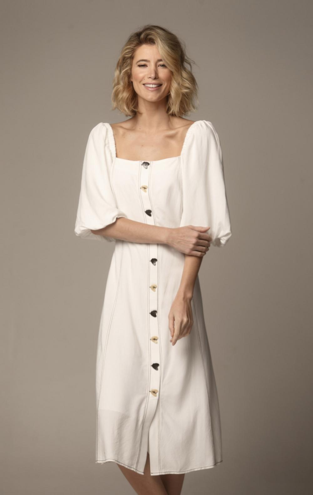 Vestido Sofia Manga Bufante Off White - Foto 1