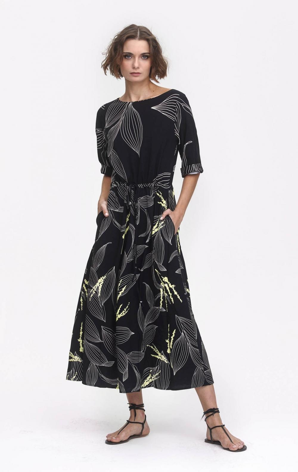 Vestido Viscose Estampado Preto  - Foto 1