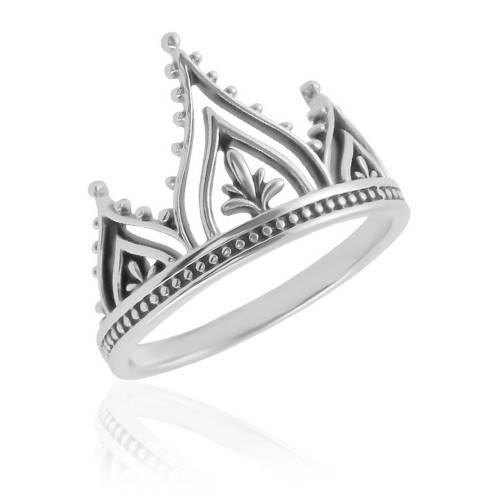 Anel Coroa Flor - Prata 925