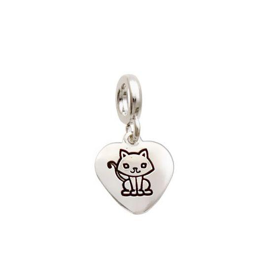 Berloque Coração com Gato - Prata 990