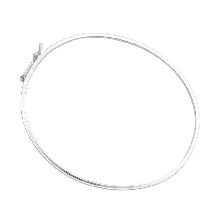 Bracelete Oval Meia Cana - Prata 990