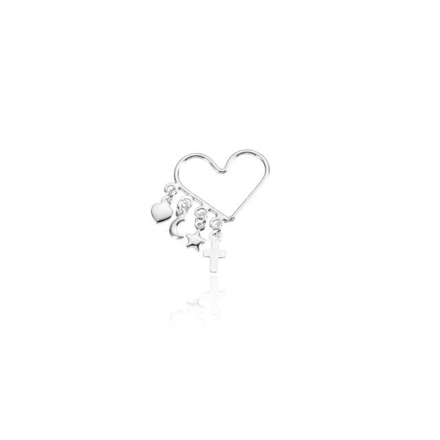 Pingente Coração Patuás - Prata 925