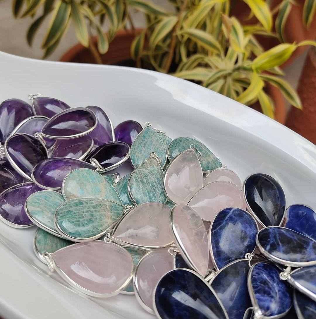 Pingente Gota Pedra Natural - Prata 950