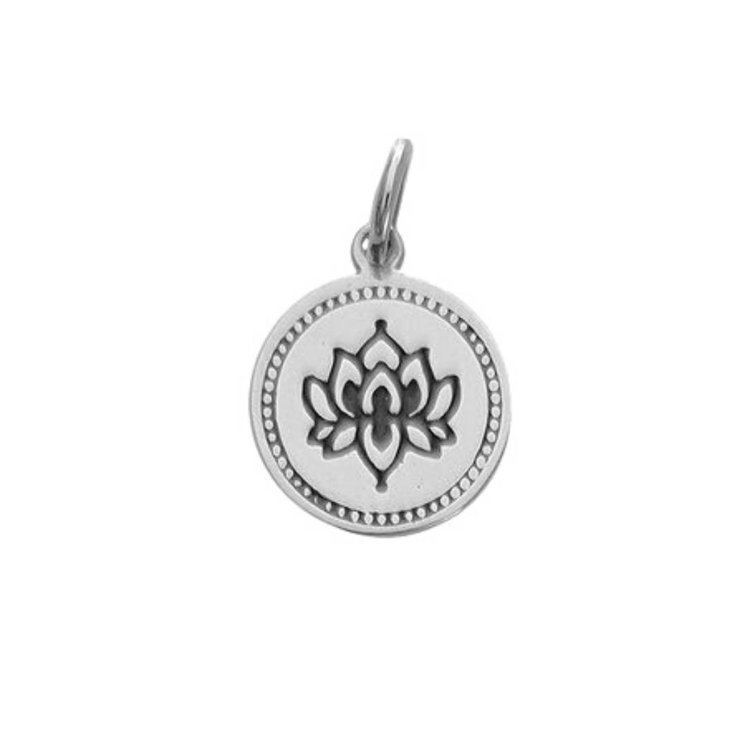 Pingente Medalha Flor de Lotus - Prata 925
