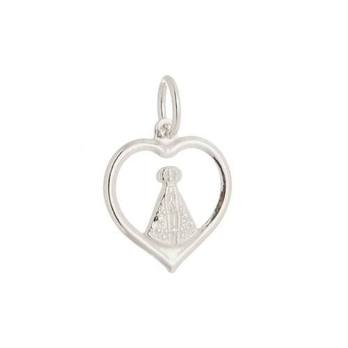 Pingente Nossa Senhora Aparecida & Coração - Prata 925