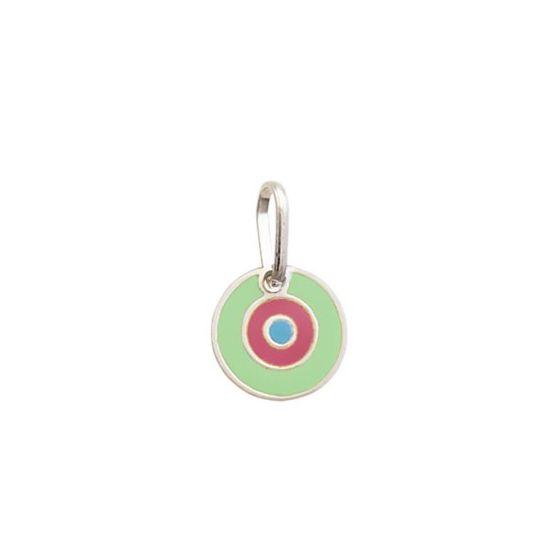 Pingente Olho Grego Verde e Rosa - Prata 990