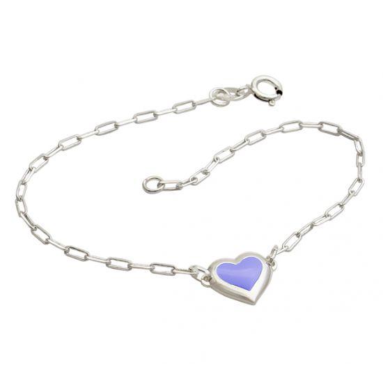 Pulseira Cartier Coração Lilás - Prata 990