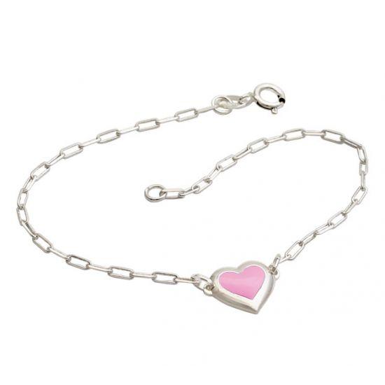 Pulseira Cartier Coração Rosa - Prata 990