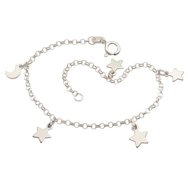 Tornozeleira Lua e Estrelas - Prata 990
