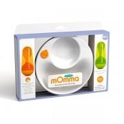 Kit Alimentação Lansinoh mOmma Prato Térmico, Colher e Garfo