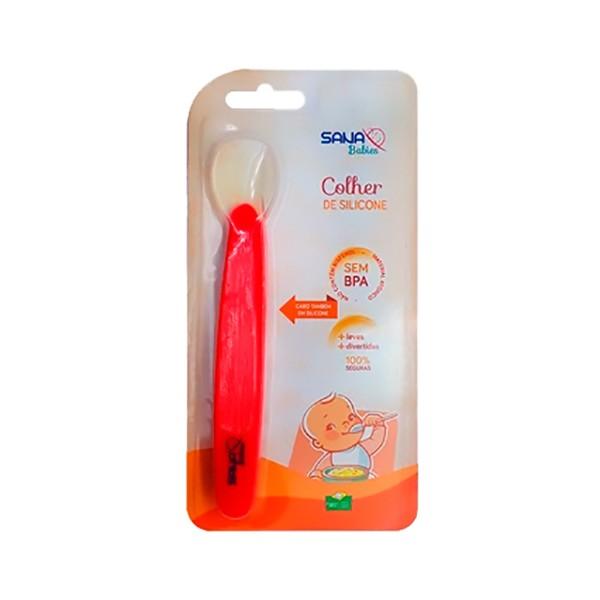 Colher Infantil Silicone Vermelha - Sana Babies