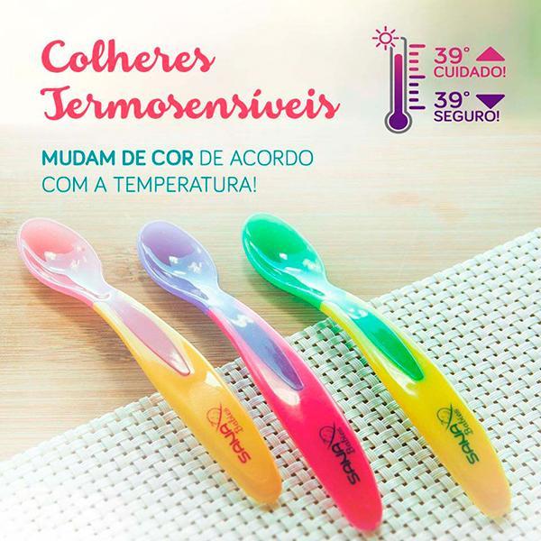 Colher Infantil Termossensível (Rosa com Amarelo) - Sana Babies