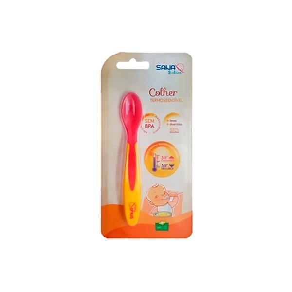 Colher Infantil Termossensível Rosa com Amarelo - Sana Babies