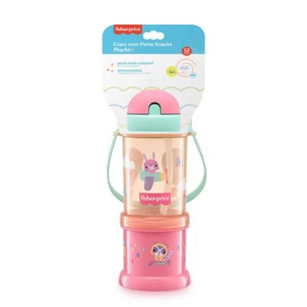 Copo com Porta Snack Playfyl Summer Sky 300ml (Rosa) - Fisher-Price