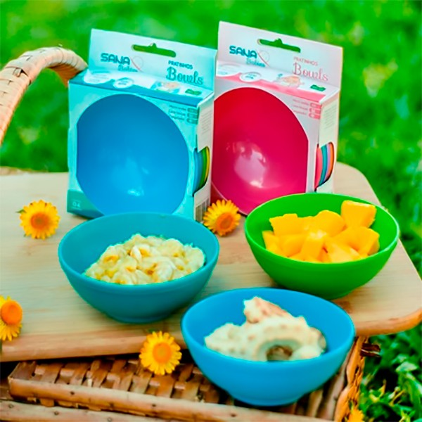 Kit com 4 potes Bowls 500ml (Menino) - Sana Babies