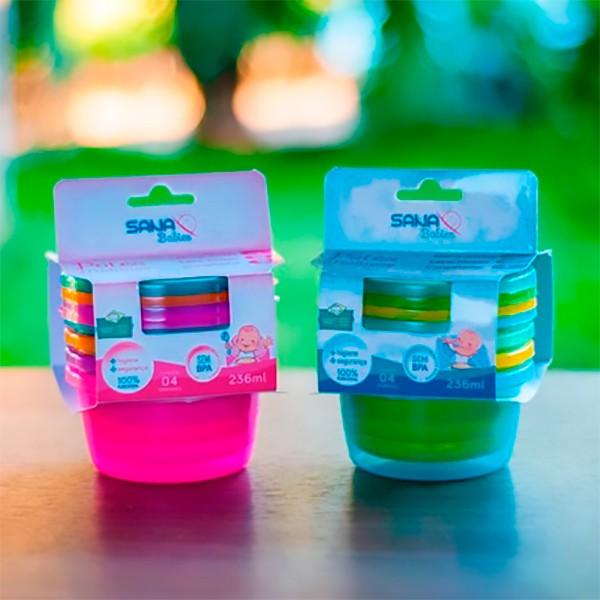 Kit com 4 Potes Multiuso 236 ml MO - Sana Babies