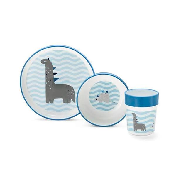 Kit Alimentacao Nhac Nhac Dinos (Azul) - Multikids baby