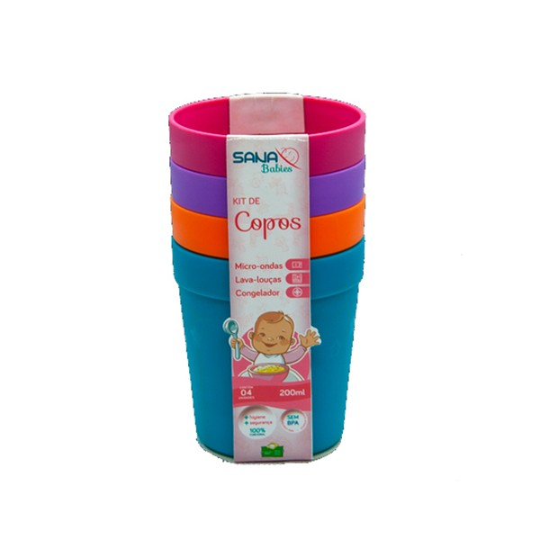 Kit com 4 Copos 200 ml MA - Sana Babies