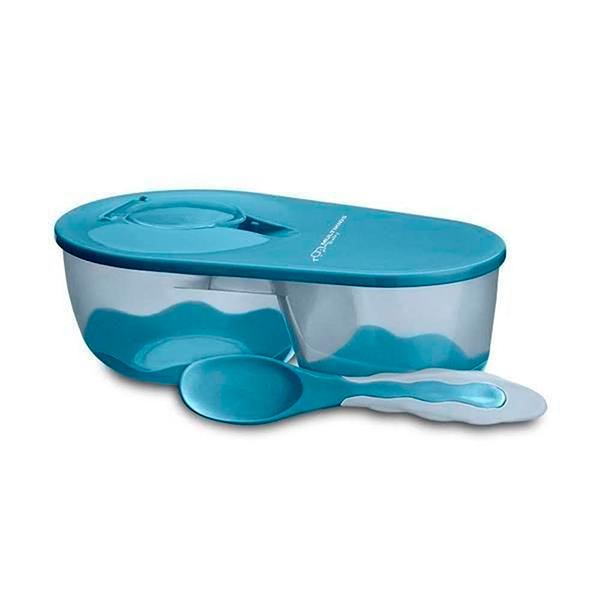 Prato Fundo com Divisória e Colher Funny Meal (Azul) - Multikids Baby