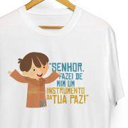 Camiseta infantil masculina O Pequeno Francisco 'Senhor, fazei de mim'