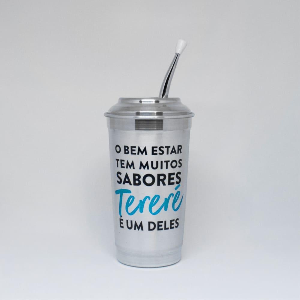 Copo Cuia de Alumínio com Bomba para Tereré - 300ml