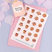 N33 - Cartela de Adesivos Cookies e Café