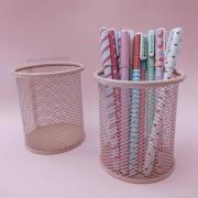 Porta Lápis Rosa/bege Pastel