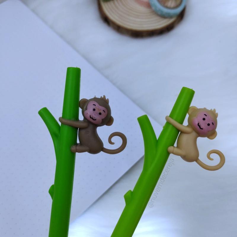 Caneta Bambu Macaco  - Nuvem de Cereja