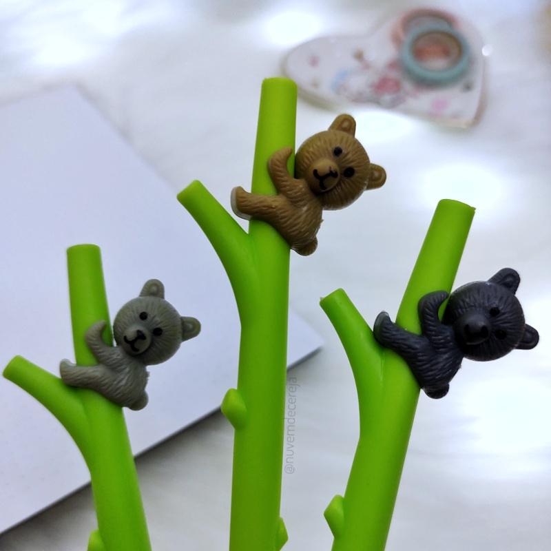 Caneta Bambu Urso  - Nuvem de Cereja
