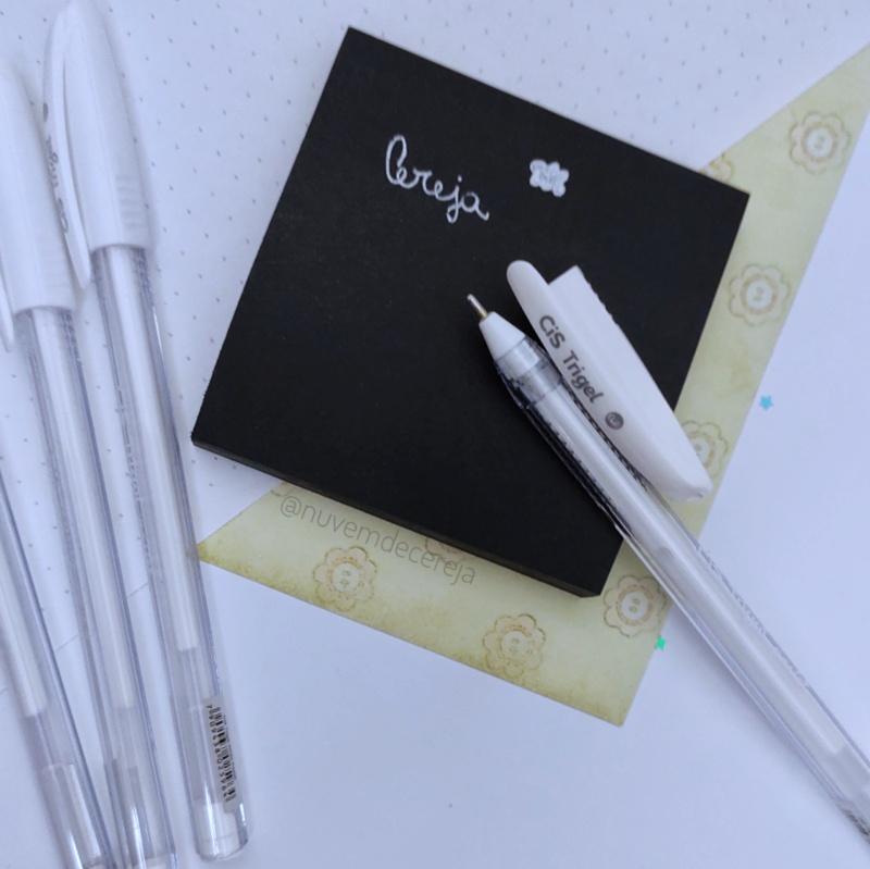 Caneta Trigel Branca 0.8mm - Cis  - Nuvem de Cereja