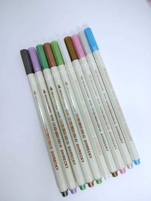 kit 10 Brush Pen Metalic STA  - Nuvem de Cereja