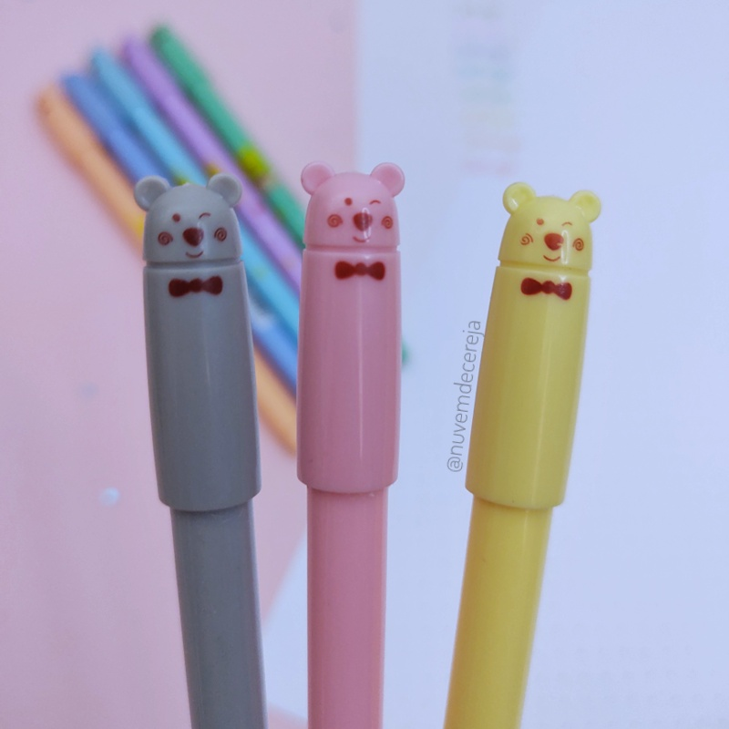 Kit 8 Canetas Coloridas Pastel Urso  - Nuvem de Cereja