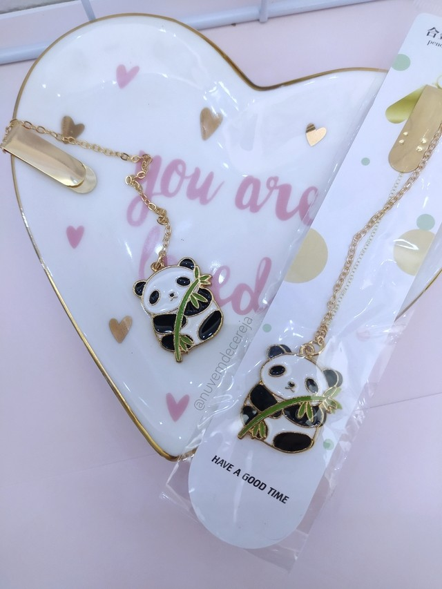 Marca Página Panda  - Nuvem de Cereja