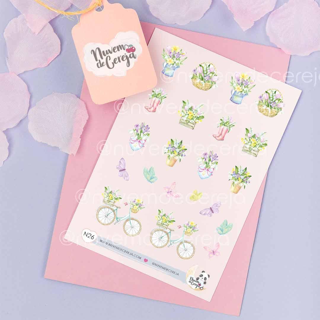 N26 - Cartela de Adesivos Flores e Borboletas  - Nuvem de Cereja