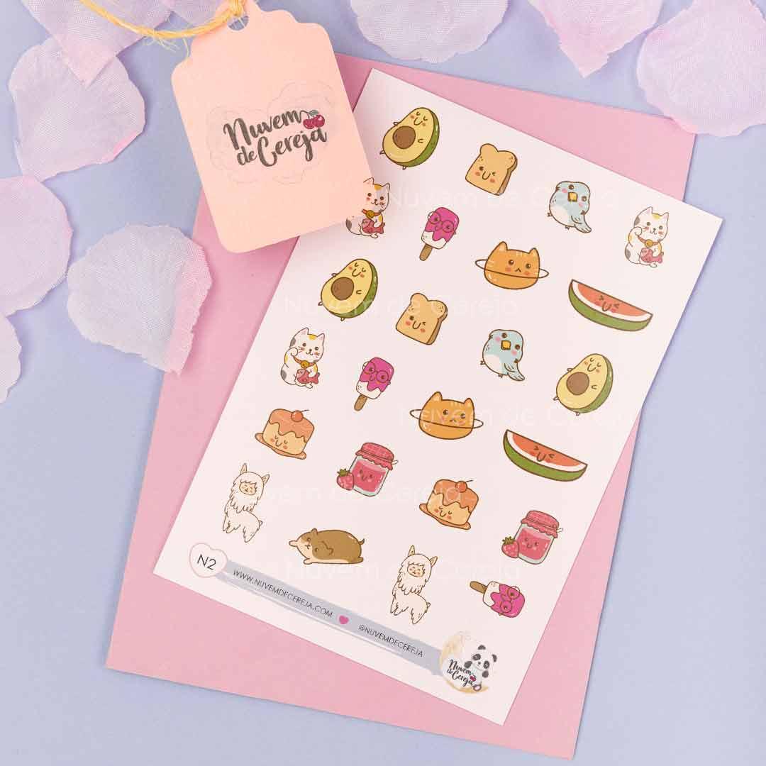 N2 - Cartela de Adesivos Frutas&animais  - Nuvem de Cereja