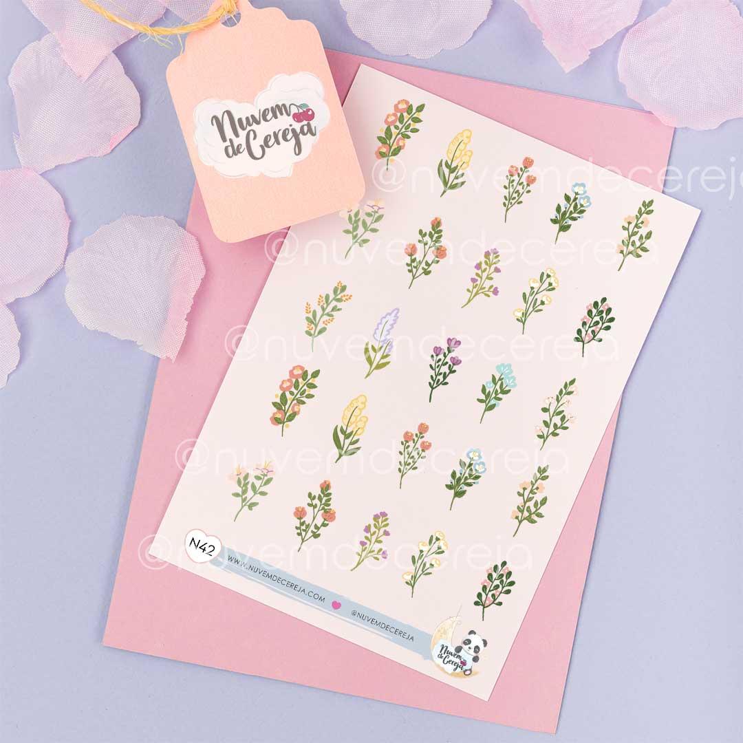 N42 - Cartela de Adesivos Flores  - Nuvem de Cereja
